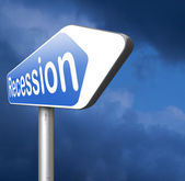 Recession road arrow sign — Stock Photo