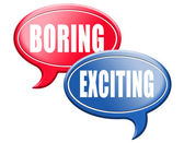 Exciting or boring speech bubbles — Stock Photo