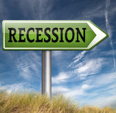 Recession road sign — Stock Photo