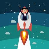 Растущий успех бизнесмена. Ракета взлететь, победитель лица — Cтоковый вектор