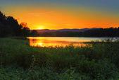 Sunset behind Blue Mountains Australia — Stock Photo