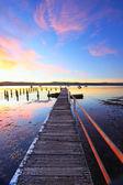 Summer sunset jetty and pool Yattalunga Australia — Stock Photo