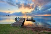 Zachód słońca w Belmont, Klobuck, Nsw Australia — Zdjęcie stockowe