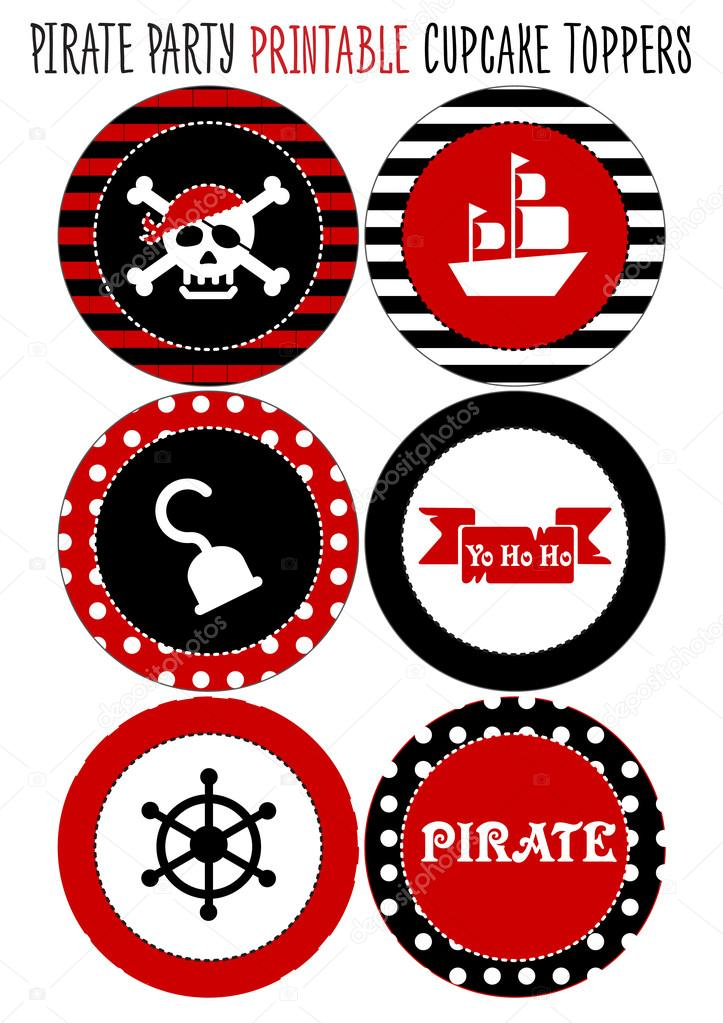 Stock Illustration Party Set Printable Pirate Theme on Free Month Printables