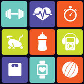 Fitness icons square — Vettoriale Stock