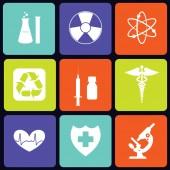 Medicine icons square — Stock Vector