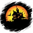 Halloween castle with sun — Stock Vector #59712187