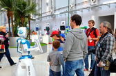 Children make robots on World Robotic Olympiad Russia 2014 — Stock Photo