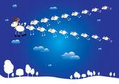 Sheep flying wedge of goat, symbols 2015 — Vector de stock