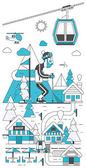 Ski resort with man skiing on mountain — Stock Vector