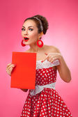 Happy Woman Holding Blank Card. Pin-Up Retro style. — Stock Photo