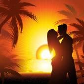 Silhouette of couple  on beach at sunset  — Stok Vektör