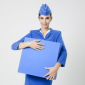 Charming Stewardess Dressed In Blue Uniform And Suitcase — Stock Photo