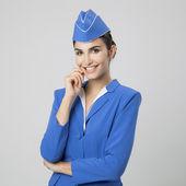Charming Stewardess Dressed In Blue Uniform — Stock Photo