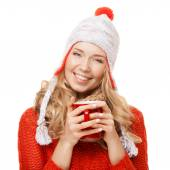 Beautiful blonde woman with an aromatic hot coffee in hands. Iso — Stock Photo