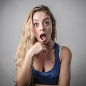 Blonde girl being surprised — Stock Photo