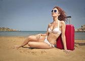Woman on vacation — Zdjęcie stockowe