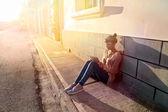 Sitting on the ground — Stock Photo