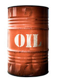 Isolated Industrial Orange Oil Barrel — Stock Photo