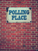 Polling Place Sign On Wall — Stock Photo