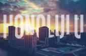 Retro gefilterten Honolulu mit Text — Stockfoto