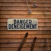 Fransız kar tehlike işareti — Stok fotoğraf