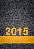 Asphalt Road Markings Showing 2015 — Stock Photo