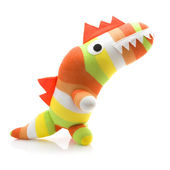 Coloful Hand Made Dinosar on a White Background — Stock Photo