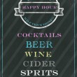 Happy hour sign on chalkboard — Stock Photo #64416815