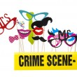 Photo Booth Props on a White Background with Crime Scene Tape — Stock Photo #65487827