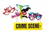 Photo Booth Props on a White Background with Crime Scene Tape — Stock Photo