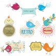 Set of cute childish birds and stylish frames with slogans. vect — Stock Vector #77606172