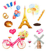 Watercolor paris icons vector illustration. eiffel tower, bicycl — Stock Vector