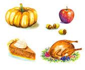 Thanksgiving day set with roasted turkey, grape, pumpkin, acorns — Stock Vector