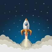 星空の青い背景にロケットを飛んでいます。ベクトル図 — ストックベクタ