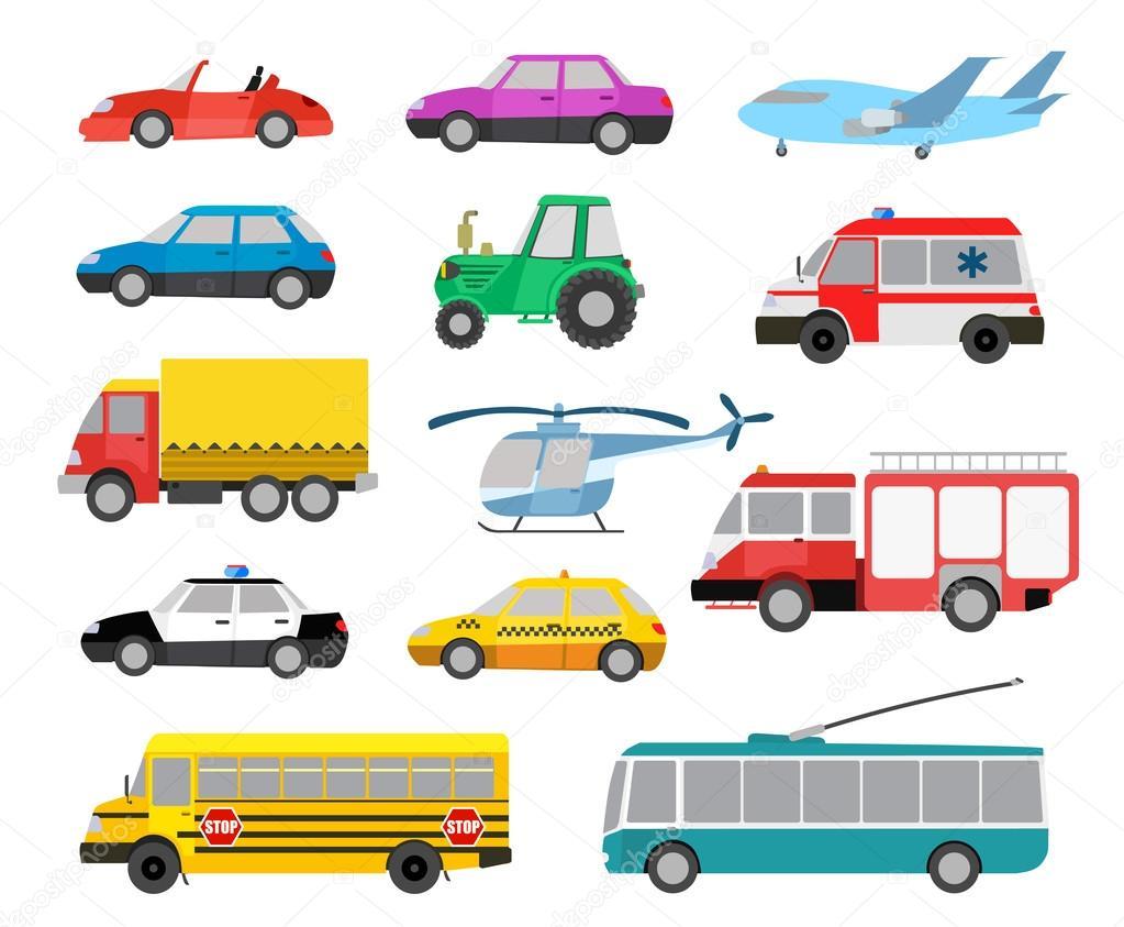 Conjunto de dibujos animados lindos autos y vehículos ...
