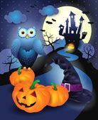 Fond d'halloween en bleu — Vecteur