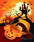 Halloween background in orange — Stock Vector