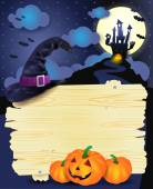 Halloween illustration with signboard — Stock Vector