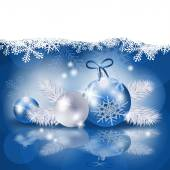 Christmas background with baubles in blue, vector — Vetorial Stock