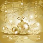 Christmas background with baubles in gold, vector — Vetorial Stock
