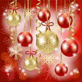 Christmas background with baubles in red, vector — Stock Vector