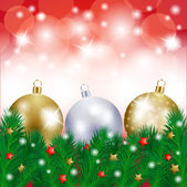 Christmas background with baubles, vector — Stock Vector