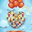 Heart and balloons, Valentine card — Stok Vektör #63404961