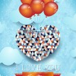 Heart with balloons, Valentine card — Stok Vektör #63404963