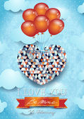Heart with balloons, Valentine card — Vector de stock