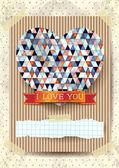 Valentine card with stunning heart — Vetor de Stock