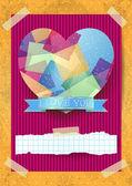 Kalp çarpıcı Sevgililer kartı — Stok Vektör