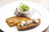 Bone marrow with fried bread — Stock Photo