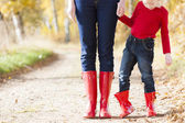 Detail of mother and daughter wearing rubber boots — Stock Photo